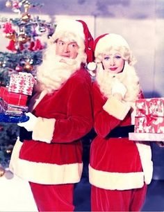 Lucille Ball and Bob Hopein Santa suits - Christmas in Hollywood vintage photo