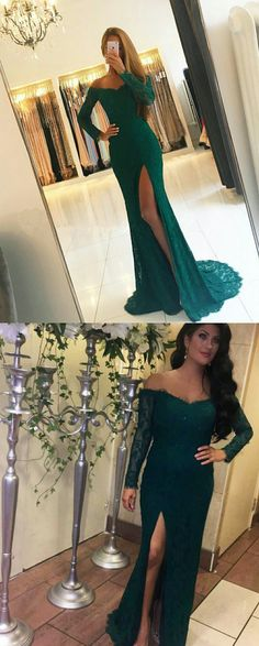 Emerald Green Lace Mermaid Evening Prom Dresses with Long Sleeves 2018 c6bbba57740b