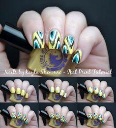 Nails by Kayla Shevonne: Nail Art Tutorial - Ikat Print Design