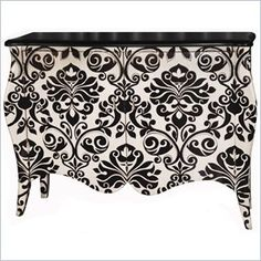 Pulaski Accents Modern Mojo Console in Genesis - This black and white damask print console table will be the centerpiece of your dining room.