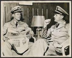 Sept 30,1942 - War Hero JFK, aged 25, with Lt. Col. O.H.P Cabot