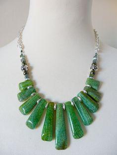 Green Necklace Bib Statement Necklace by TresorelleJewellery