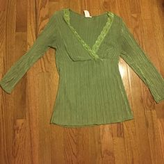 Dressy Olive Green Blouse This is such an elegant shirt to wear with a nice black skirt or dress pants! It has been worn, as you can see from the faded tag, but it's condition is still great! Tops Blouses