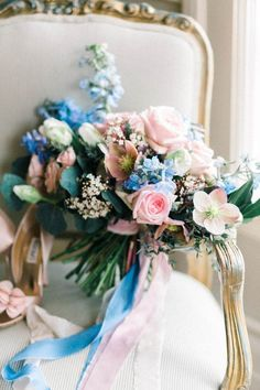 This rose quartz & serenity colored bouquet is stunning with coordinating ribbons draping from the stems. Such a beautiful way to display this pantone color of the year! Wedding Themes, Wedding Designs, Wedding Colors, Wedding Decorations, Bride Bouquets, Bridesmaid Bouquet, Bouquet Flowers, Spring Wedding, Dream Wedding