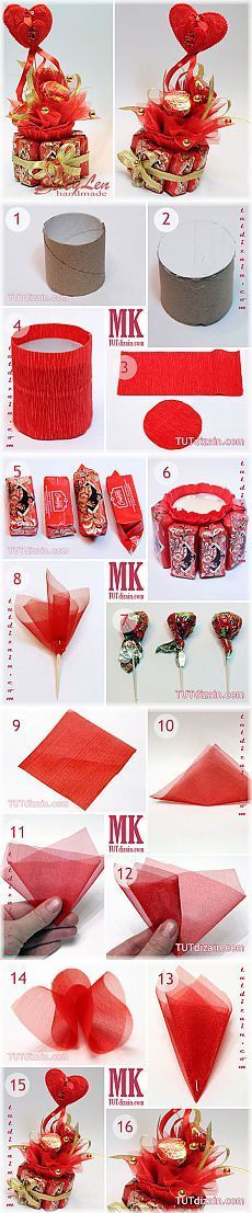 Crepe paper, tulle, cardboard tube w/ styrofoam, & skewer sticks; ribbon & beads or sequins for embellishments. Gift Bouquet, Candy Bouquet, Chocolate Flowers Bouquet, Candy Arrangements, Bar A Bonbon, Candy Flowers, Gift Ribbon, Paper Ribbon, Candy Cakes