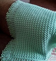 Mary Liz in Mint Warm and Lacy Reversible Baby Afghan Crochet Pattern by Susan Kerin