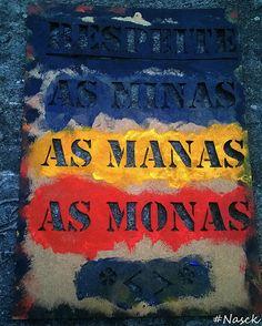 Stencil Respeite as Minas as Manas as Monas corte enquadramento na parede