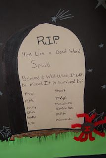 """Dead Words- for practice using a thesaurus. Assign each kid a word. You can make a big deal of this and even hold a """"ceremony"""" for the words. This is a great October activity."""