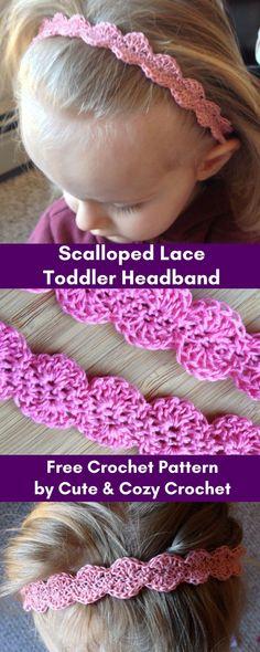 Scalloped Lace Toddler Headband   Free Crochet Pattern   Lace Yarn   Toddler Headband