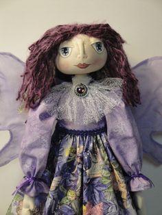 Fairy Folk Art Doll Purple Hair Cloth Doll by MorningMistDesigns, $69.95
