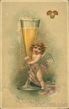 """cheers... """"Happy New Year"""" champagne baby.  Vintage printable image for DIY paper crafts, gifts or holiday decorations.   Ephemera."""