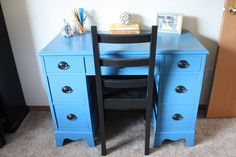 Just got a desk for Sophia's room off Craigslist.  Thinking this would be a cute color to paint it.