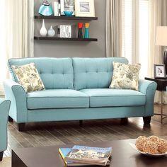 Furniture Of America Primavera Modern Linen Sofa (Light Teal), Blue (Foam)