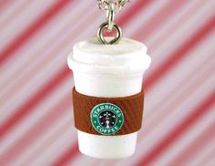 starbucks necklace kawaii polymer clay charms por CMYKlays en Etsy