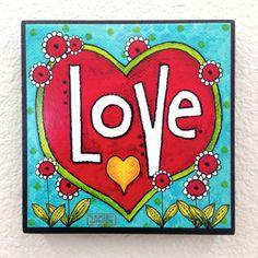 AMOR  decoración de la pared de bloque de arte por karladornacher, $8.00