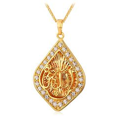 U7 New Statement Islamic Jewelry 18K Gold Plated Rhinestone Fashion Allah Pendant  Necklace For Women * You can find out more details at the link of the image.