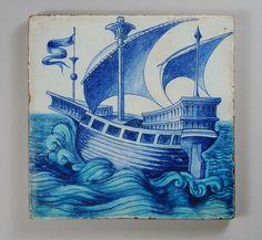 William De Morgan tile blue sailing boat