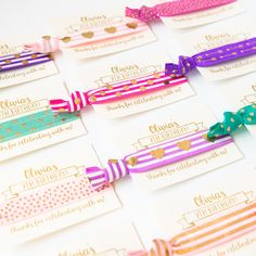 Personalized Birthday Party + Slumber Party Hair Tie Favors!