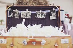 lovely idea, old photos and suitcase