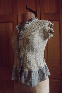 Lagenlook Sweater Vest Peasant Jacket Blouse by bluemermaiddesigns
