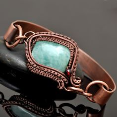 Amazonite and Garnet Wire Wrap Copper Cuff Bracelet - Nicole Hanna Jewelry