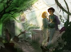 Harry and Kat - Quiet moment in the greenhouses 🍃 Harry Potter Ginny Weasley, Harry And Ginny, Harry James Potter, Harry Potter Fan Art, Harry E Gina, Jily, Albus Dumbledore, Quiet Moments, The Marauders