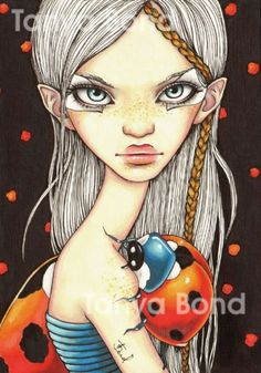 BRADYBUG surreal pop fantasy art girl and ladybug by tanyabond