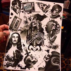Misfits 1977 tattoo flash sheet by SaraRayArt on Etsy