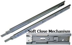 The HR2145, 22 inch SOFT CLOSE ball bearing slide is a telescopic precision full extension slide with a damper to keep the drawer from slamming. Made of zinc plated steel with precision ball bearings, The HR2145 provides smooth action and high lateral stability. Priced Per Pair - Screws Not Included.