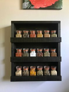 Spice Rack Rustic with 3 shelves Kitchen storage Wood wall mounted spice organizer Modern Kitchen shelves Farmhouse Barn house spice storage