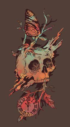 Time-clock-skull-butterfly-design