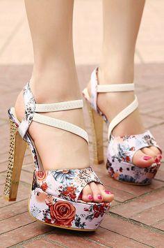Floral high heel sandals #spring