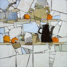Hommage à Nicolas de Staël. Pâte de verre Albertini - 340 x 340 mm sur support béton