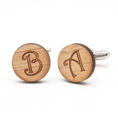 Monogrammed Rustic Style Wood Cufflinks