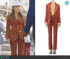 Fallon s brown velvet horse-embroidered suit on Dynasty 157a0b2e0