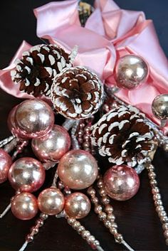 an old Christmas corsage~ reminds me of my mom Pink Christmas Tree, Christmas Past, Victorian Christmas, Little Christmas, Vintage Christmas, Christmas Holidays, Christmas Crafts, Christmas Decorations, Xmas