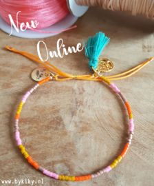 Armbandje Miyuki Delica roze, oranje en mosterdgeel