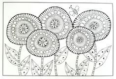 Whimsical, floral adult coloring page | inkspirations coloring book