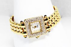 Gold Tone & Rhinestone Quartz Watch by Suzanne Somers  Square