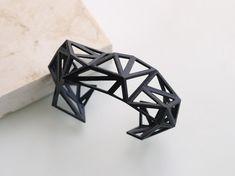 black cuff - Triangulated Cuff bracelet in Black - modern minimalist design 3D printed $29