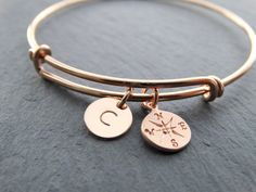 Bangle Bracelet with charms rose gold Compass Bracelet initial letter charm Expandable Bangle Bracelet Adjustable Bangle Bracelet Stackable