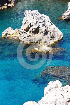 Photo about Deep blue clear water between big rocks, near the sea. Image of rocks, travel, deep - 92517428 Landscaping Images, Deep Blue, Rocks, Waves, Sea, Stock Photos, Landscape, Animals, Outdoor