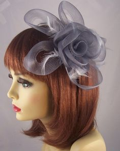 Gray Silver Mesh Net Feather Flower Fascinator for the Kentucky Derby