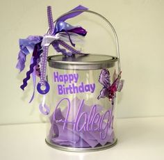 cute birthday pail for lip gloss and bows!