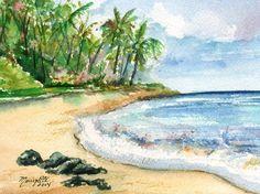 Kauai South Shore Beach 2 Original Watercolor by kauaiartist, $50.00