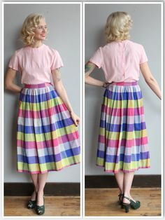 1950s Skirt // Multicolored Plaid Skirt // by dethrosevintage