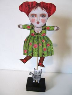adult paper doll puppet diy mixed media folk art home decor fun silly quirky woman with chameleon Paper Puppets, Paper Toys, Paper Art, Paper Crafts, Paper People, Doll Parts, Craft Patterns, Diy Art, Pattern Paper
