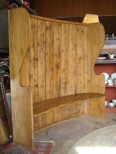 Antique 1840's Primitive Large English Pine Settle Bench