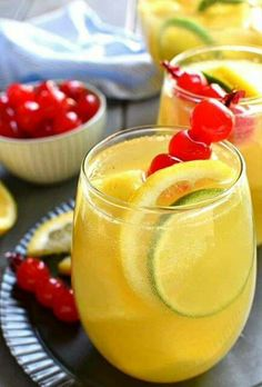 Tropical Pineapple Sangria 4 Cups White Wine 1/2 Cup Coconut Rum 2 Cups Pineapple Juice Pineapple Chunks, Sliced Oranges & Limes Combine all in a large pitcher with ice... Can substitute Sparkling Wine.