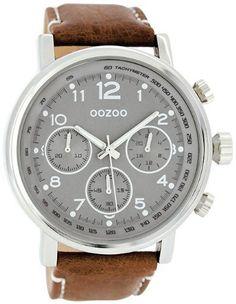 Oozoo XXL Herrenuhr mit Lederband - C5162 - Grau/Braun - http://geschirrkaufen.online/oozoo/oozoo-xxl-herrenuhr-mit-lederband-c5162-grau